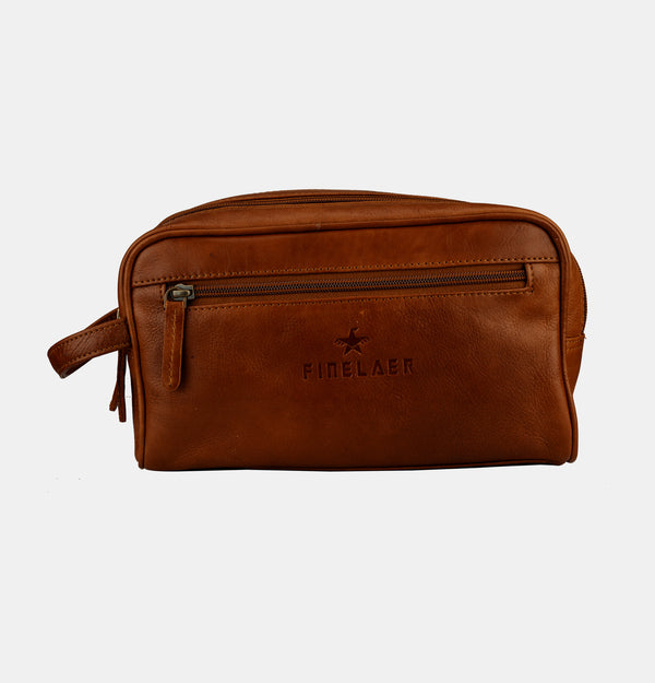 Men Brown Leather Toiletry Travel Dopp Bag | Finelaer