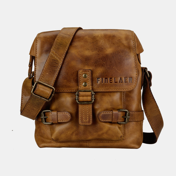 Finelaer Men Crossover Leather Crossbody Shoulder Bag