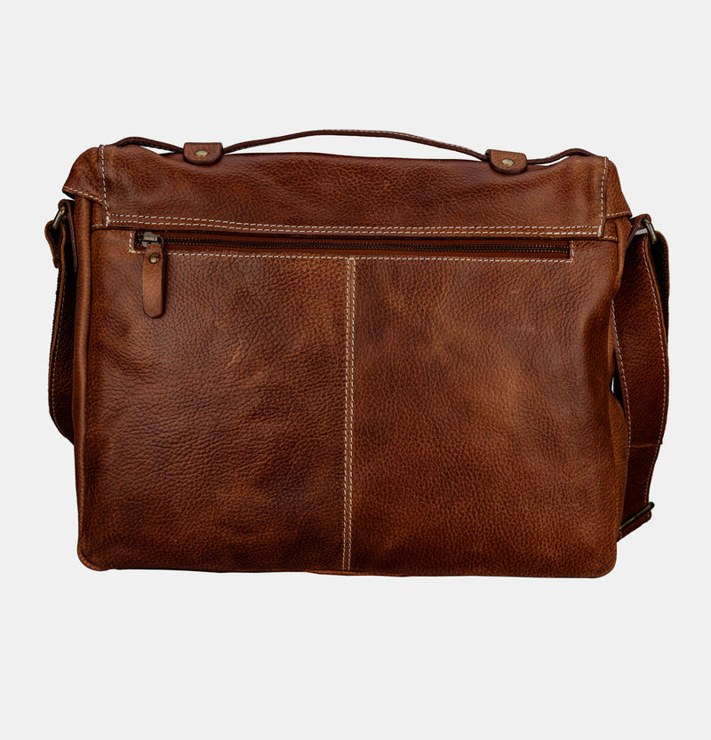 Finelaer Men Dark Brown Leather 14 inch Laptop Briefcase