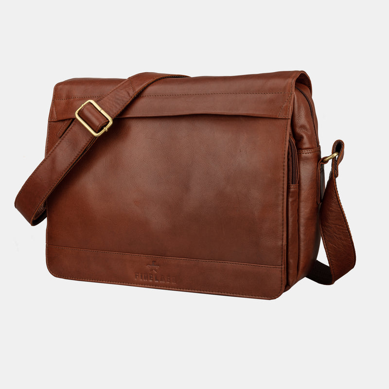Finelaer Men Leather Laptop Flap Over 14 inch Messenger Bag