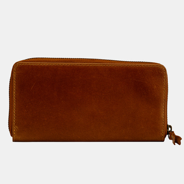 Women Leather Zip Around Clutch Purse Wallet | Finelaer