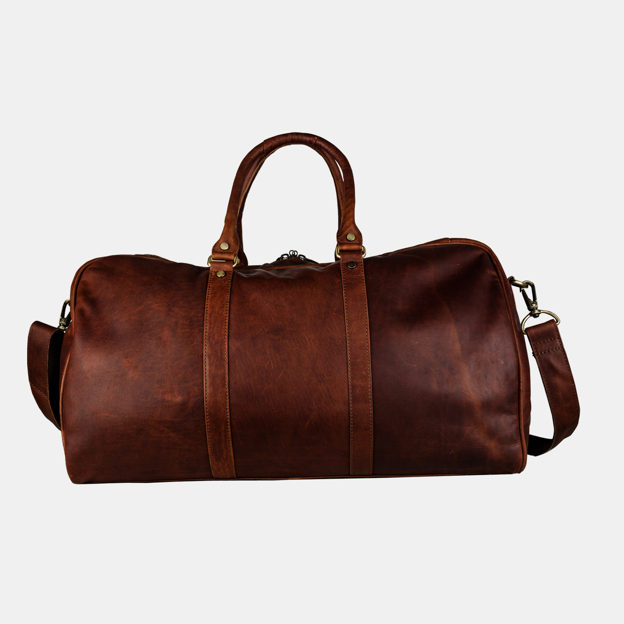 b8101f6f28ac Finelaer Men Brown Leather Day Travel Weekender Duffle Bag