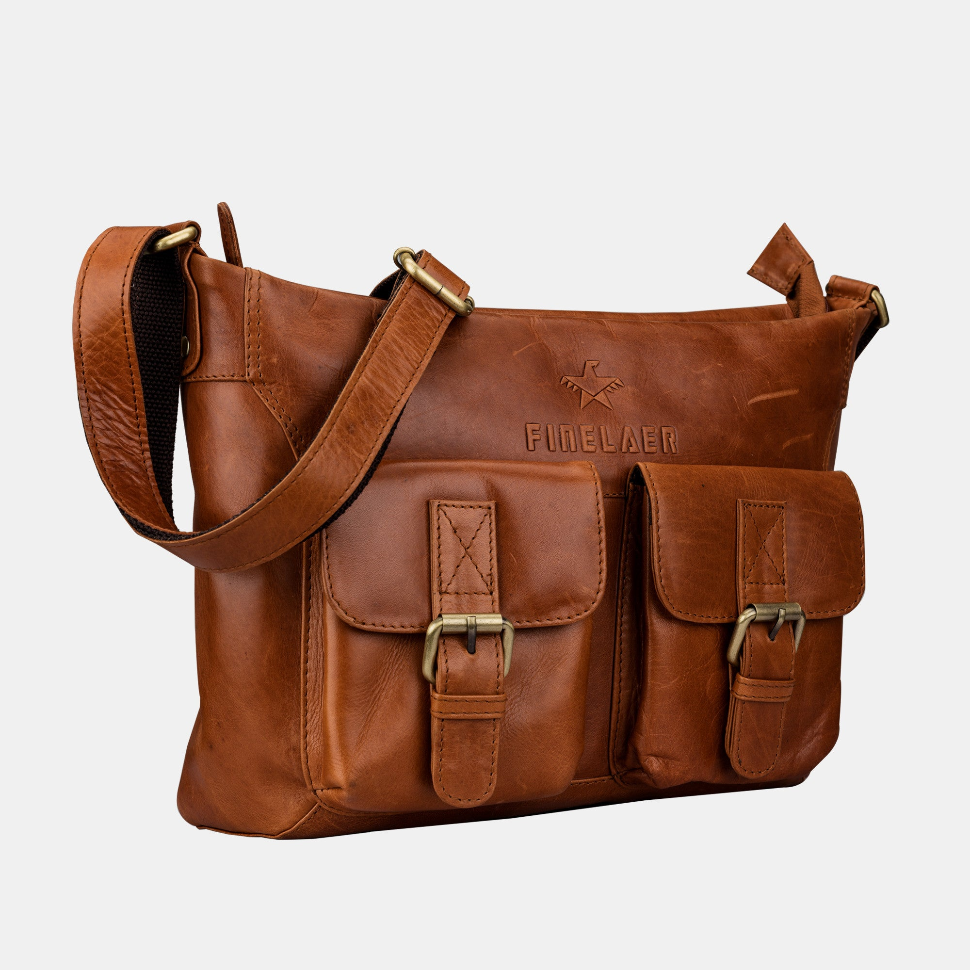... Finelaer Women Leather Crossbody Bag with Front Pocket ... e4defb208a8db