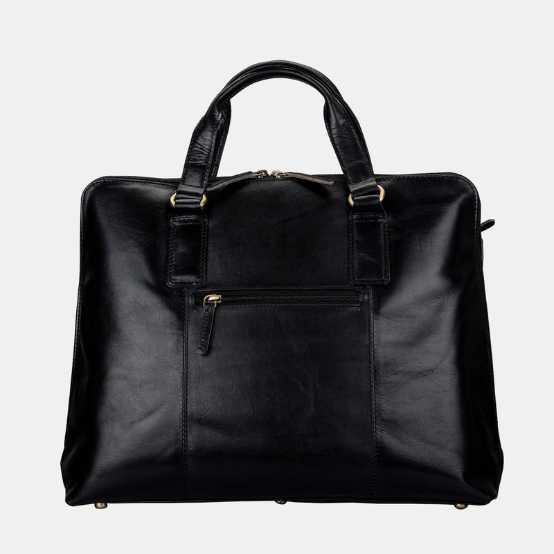 Women Black Leather Slim Laptop Briefcase Bag | Finelaer