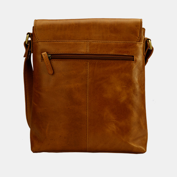 Coffee Leather Crossover Crossbody Shoulder Bag | Finelaer