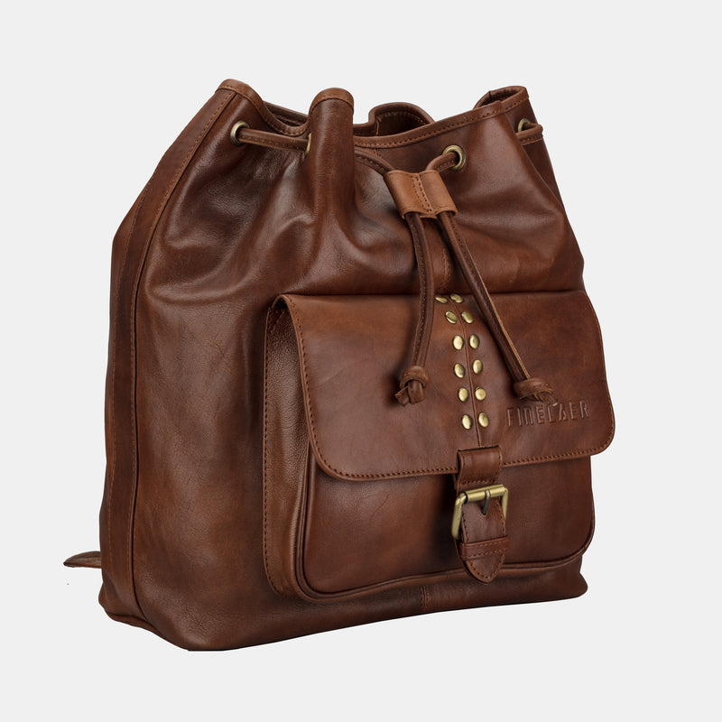 Finelaer Women Drawstring Brown Leather Backpack Shoulder Bag