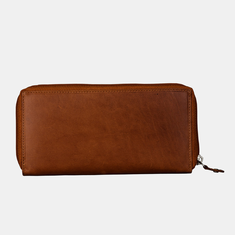 Women Brown Leather Zip Around Clutch Purse Wallet | Finelaer