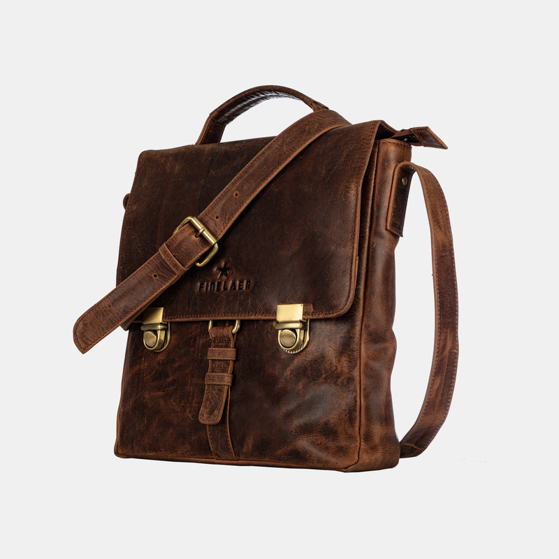 Men's Vintage Crossover Crossbody Bag in Genuine Leather | Finelaer