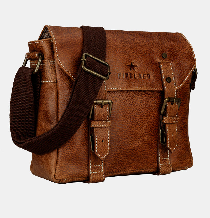 Finelaer Men Vintage Brown Leather Crossbody Shoulder Bag