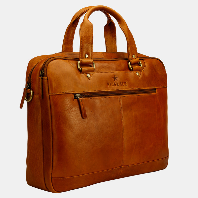 Women Brown Leather 14 inch Laptop Shoulder Bag | Finelaer