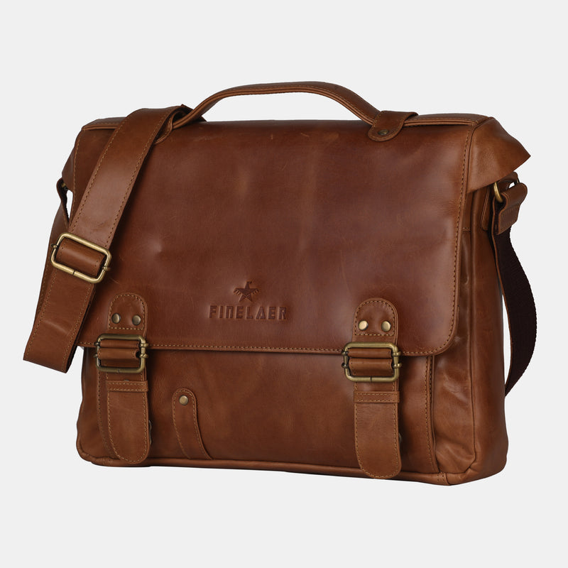 Men's Brown Leather 14 inch Laptop Briefcase Bag | Finelaer