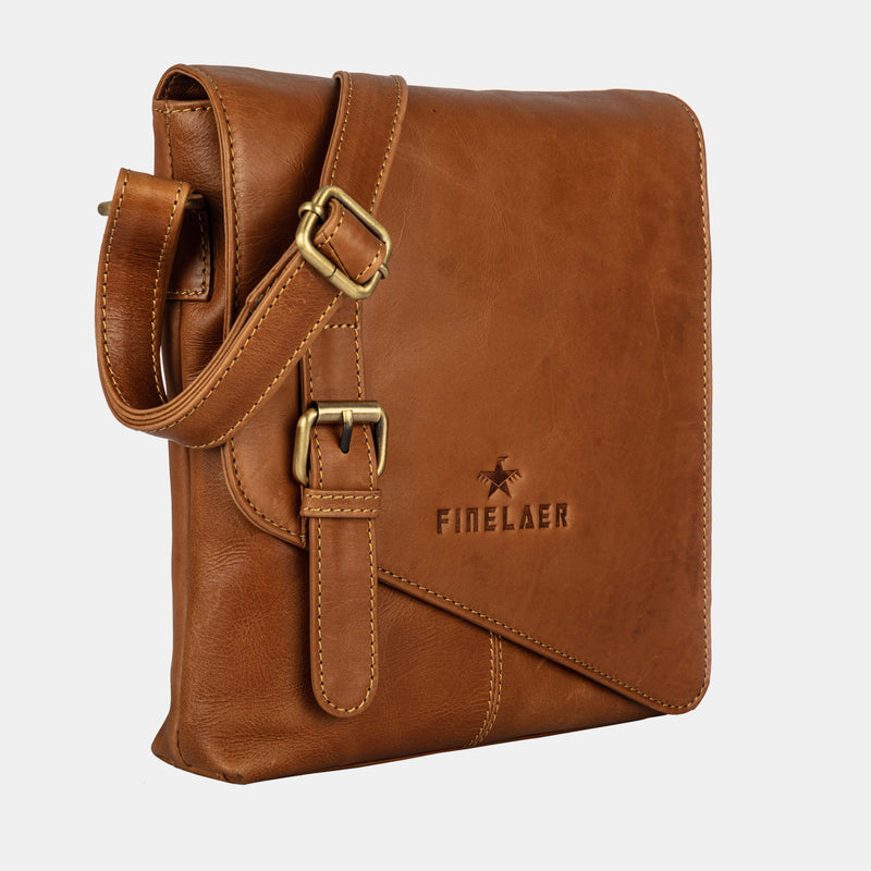 Women Brown Leather Crossbody Crossover Shoulder Strap Bag | Finelaer