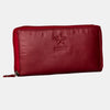 Finelaer Women Red Leather Zip Around Clutch Purse Wallet