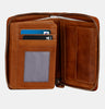 Finelaer Women Brown Leather Small Wallet With Coin Pocket