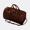 Finelaer Men Brown Leather Day Travel Weekender Duffle Bag