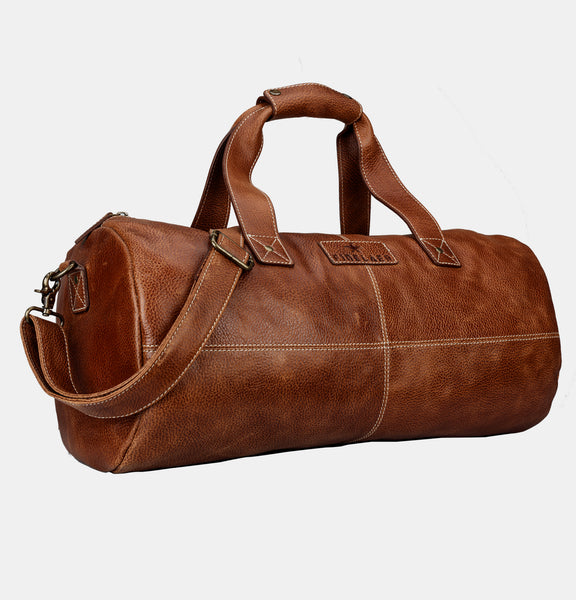 Finelaer Full Grain Brown Leather Travel Duffle Bag