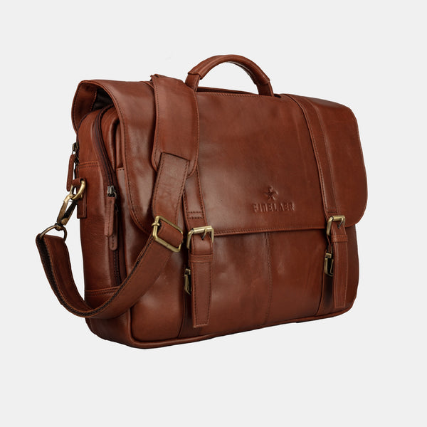 Dark Brown Leather Flap Over 15.6 inch Laptop Briefcase | Finelaer