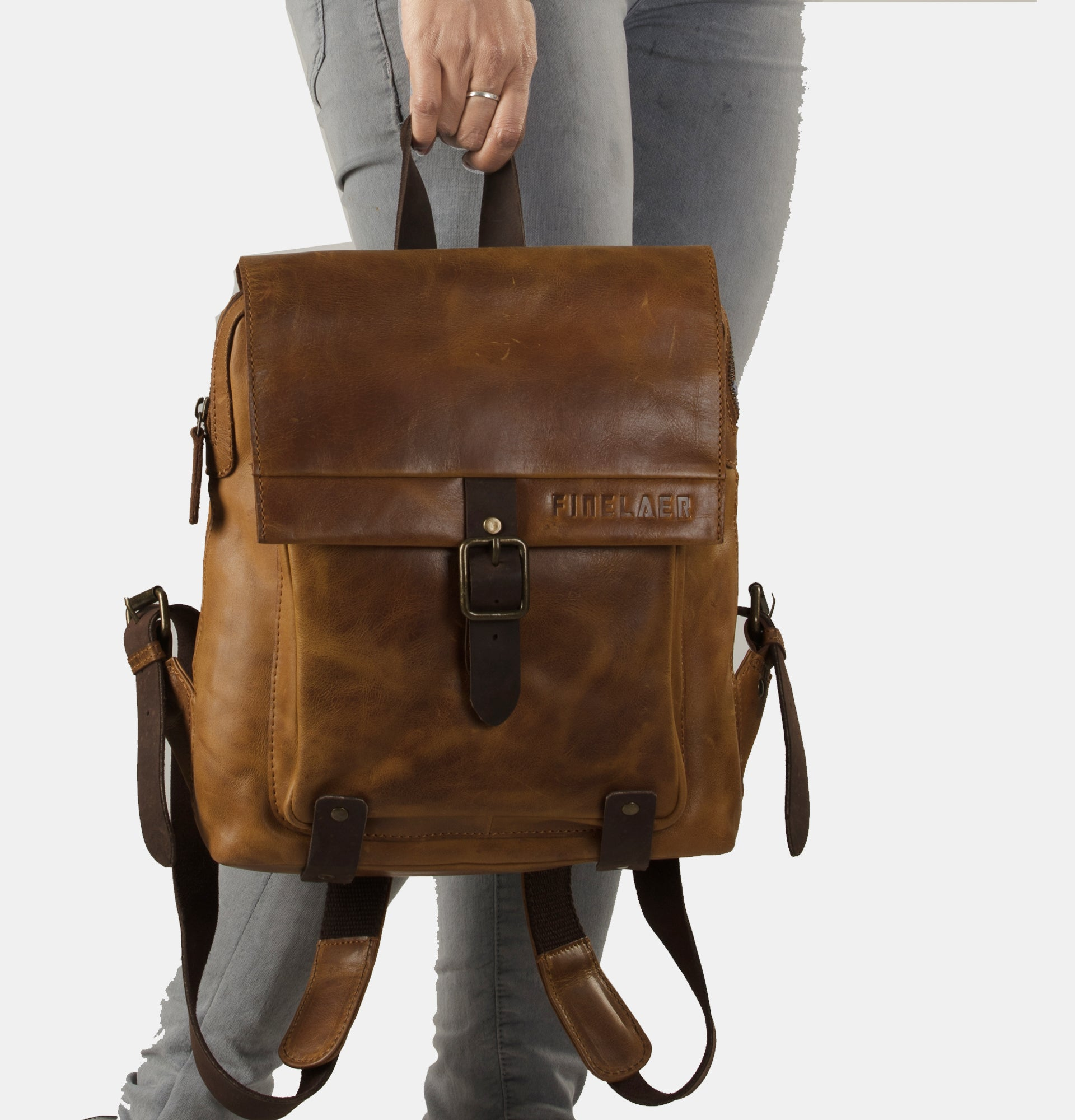 3808618963 ... Finelaer Women Retro Brown Leather Daypack Backpack ...