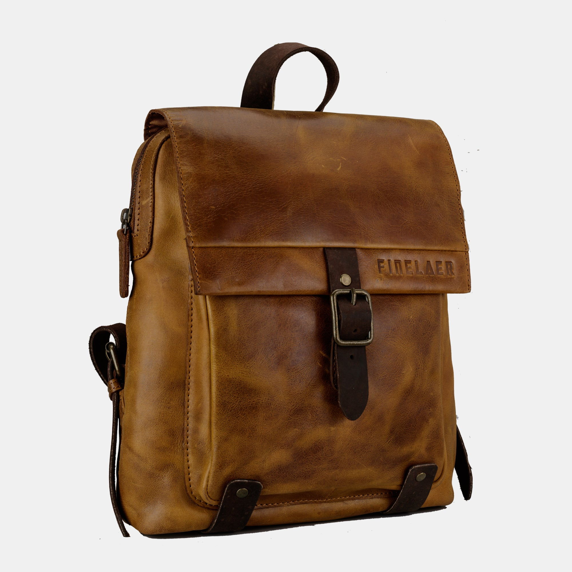 56ac380258 ... Finelaer Women Retro Brown Leather Daypack Backpack ...