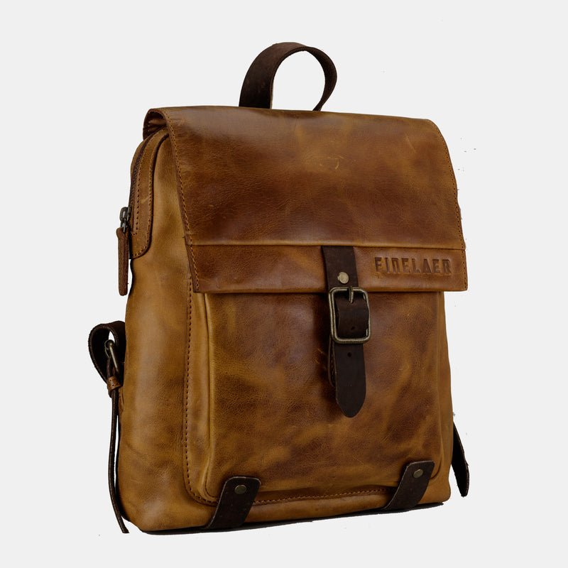 Women Retro Brown Leather Daypack Backpack | Finelaer