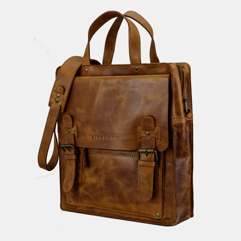 Finelaer Men Leather Crossover Crossbody Shoulder Bag