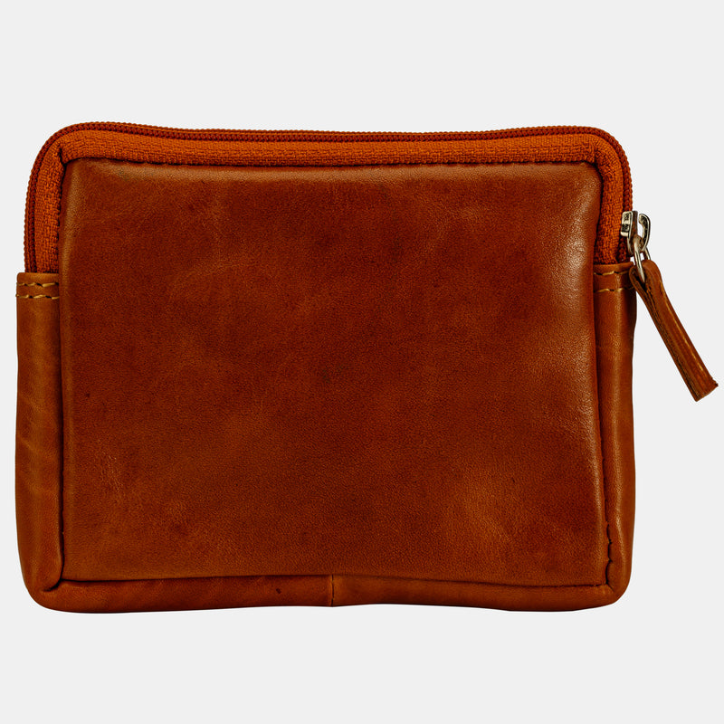 Men Brown Leather Mini Coin Purse Pouch Wallet | Finelaer