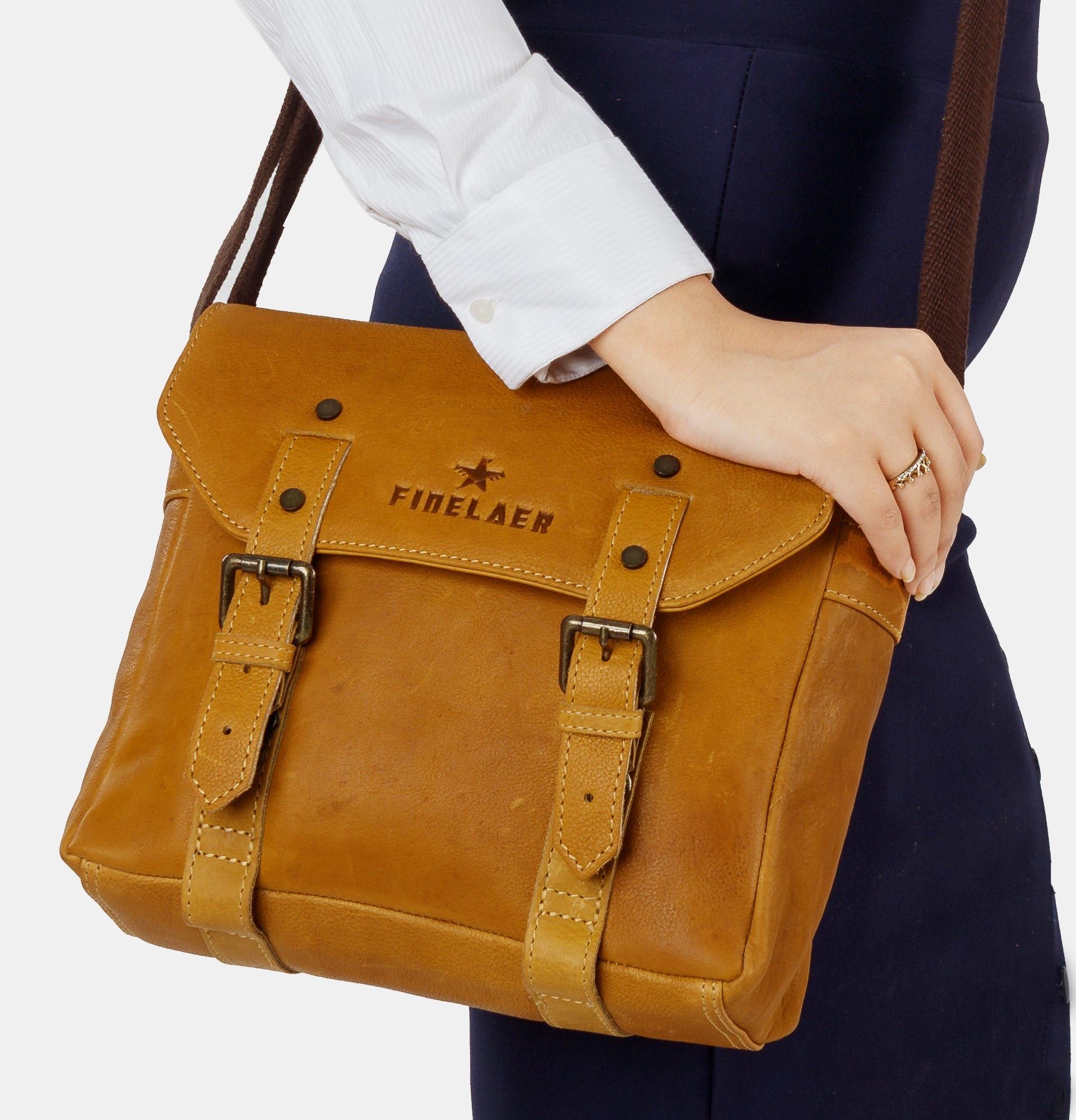 Finelaer Women Vintage leather Crossover Crossbody Bag 29aa02258e37a