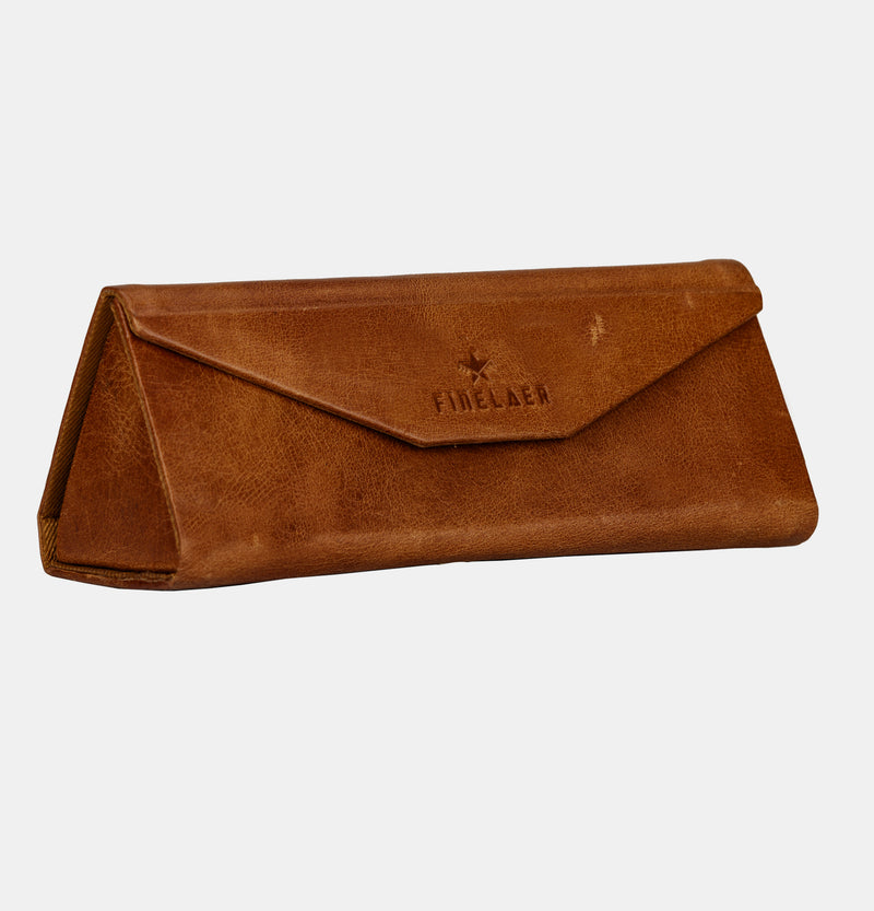 Slim Lightweight Matt Leather Vintage Triangle Eyeglasses Sunglass Storage Case | Finelaer