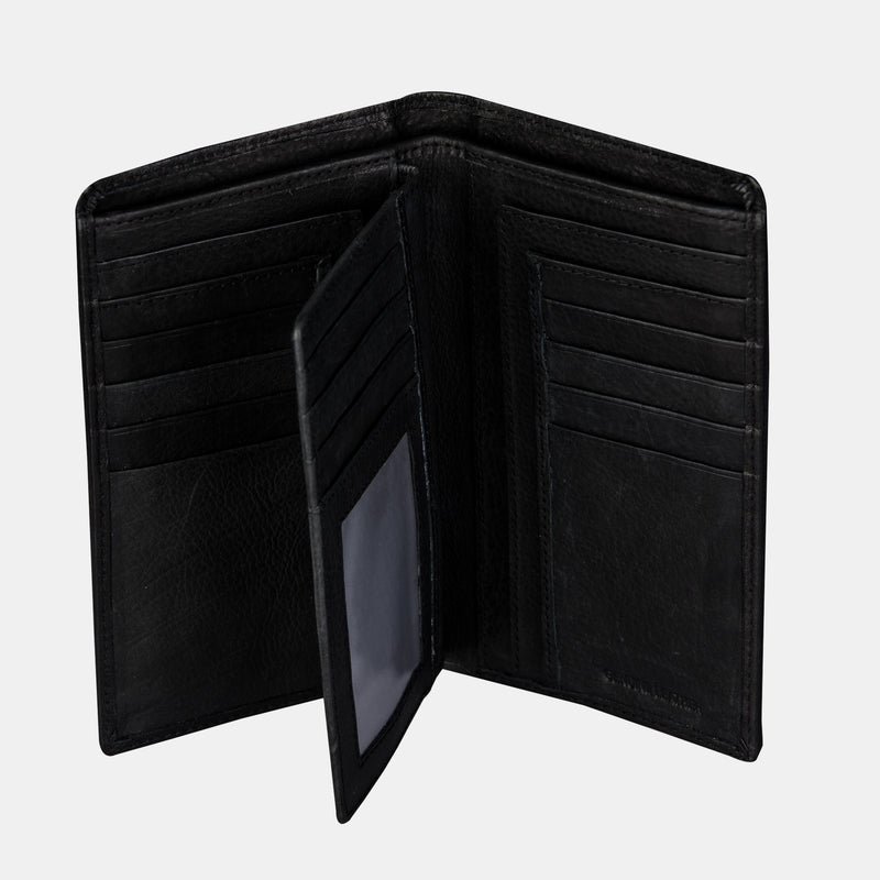 Men Black leather Coat Bifold Long Wallet | Finelaer