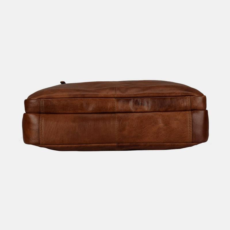 Men's Brown Leather 14 inch Laptop Bag Brown | Finelaer