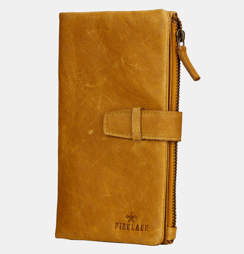 Women Travel Bifold Passport Wallet with Strap | Finelaer
