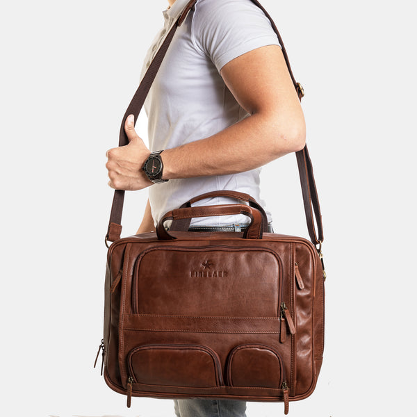 Men Flight Bag 15.6 inch Brown Laptop Briefcase | Finelaer