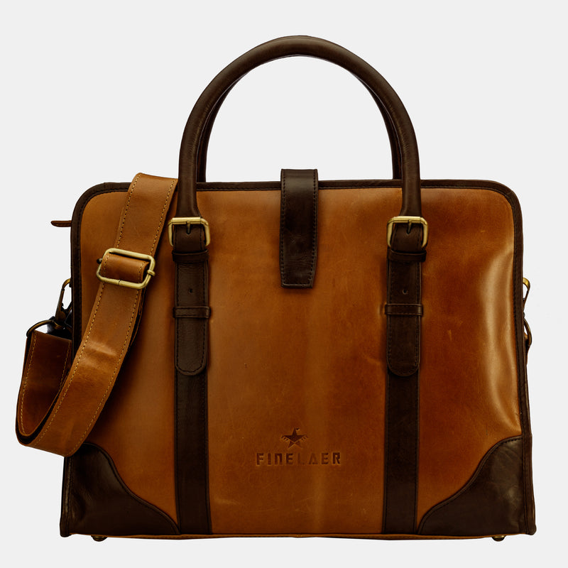 Brown Leather Women Laptop Messenger Bag | Finelaer