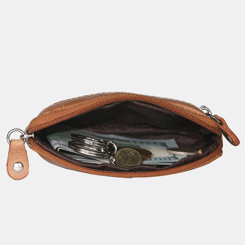 Men Leather Key Coin Pouch Purse Wallet with Key Ring | Finelaer