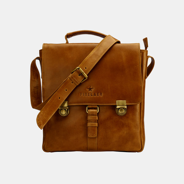 Finelaer Vintage Genuine Leather Unisex Crossover Crossbody Bag