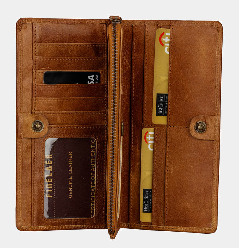 Finelaer Women Brown Leather Travel Passport Wallet