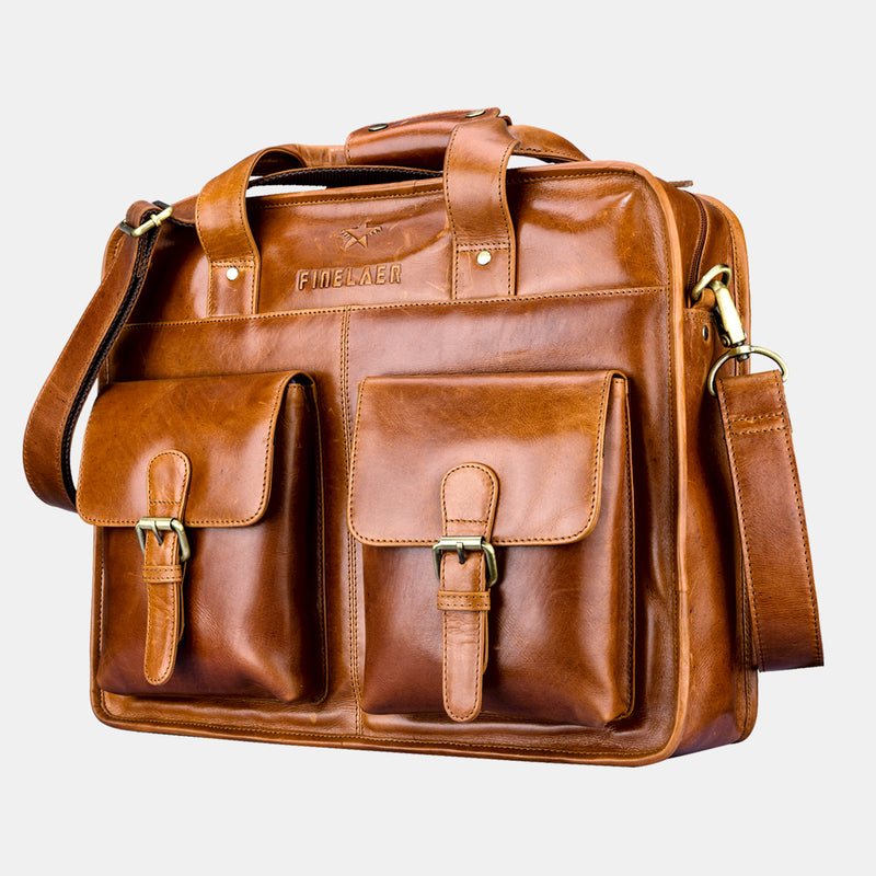 Men's Brown Leather Laptop Front Pocket Travel 15.6 inch Briefcase | Finelaer