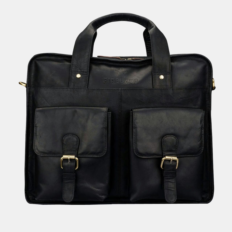 Men's Black Leather Laptop Front Pocket Travel 15.6 inch Briefcase | Finelaer