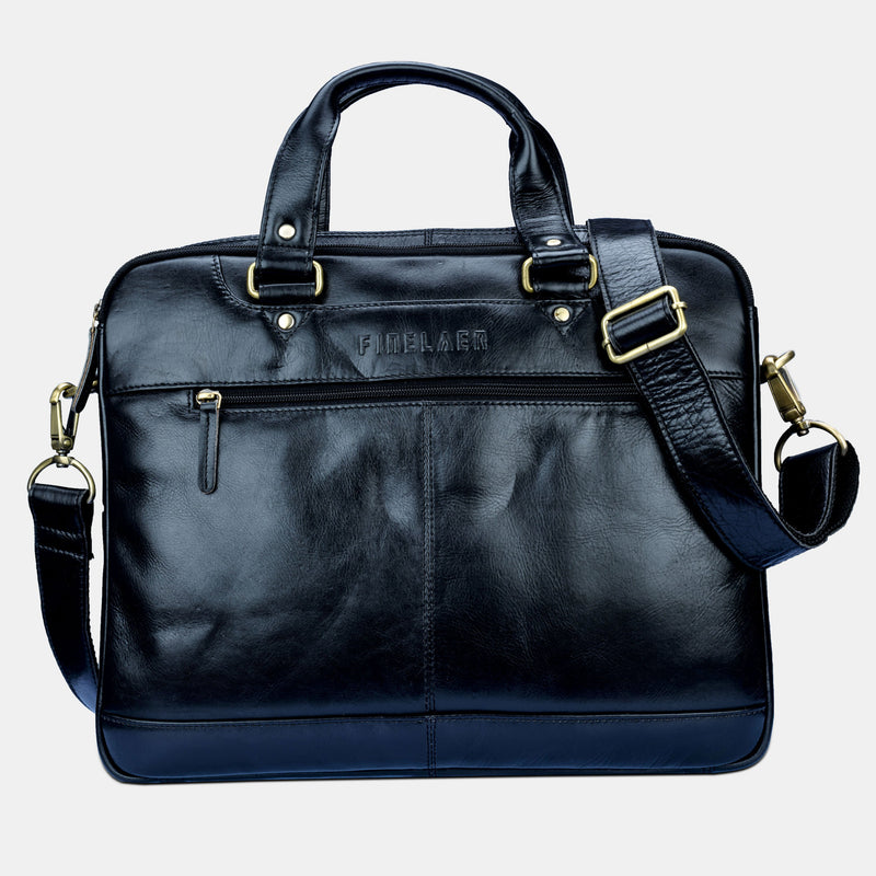 Women Black Leather 14 inch Laptop Shoulder Bag | Finelaer