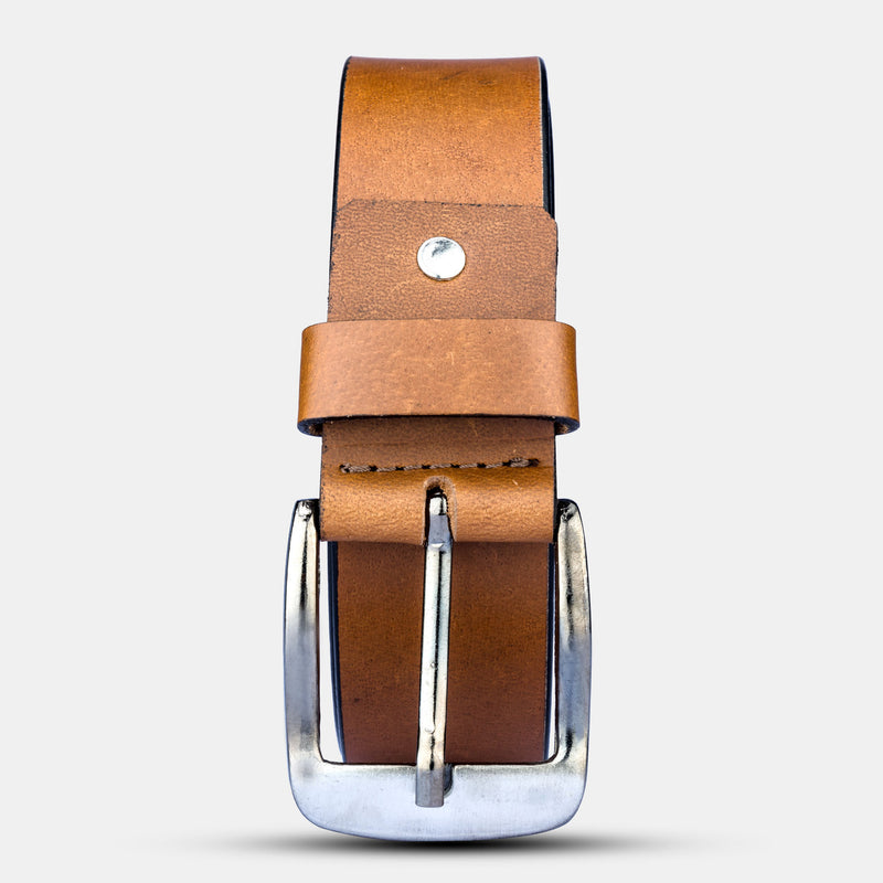 Mens Genuine Leather Brown Belt With Buckle | Finelaer