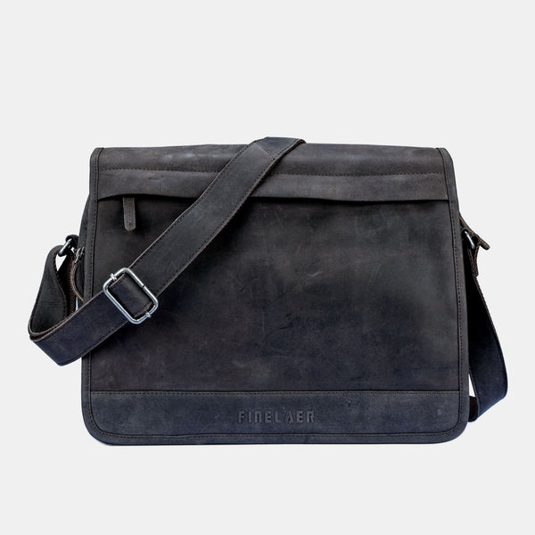 Finelaer Black Leather Laptop Briefcase Messenger Bag