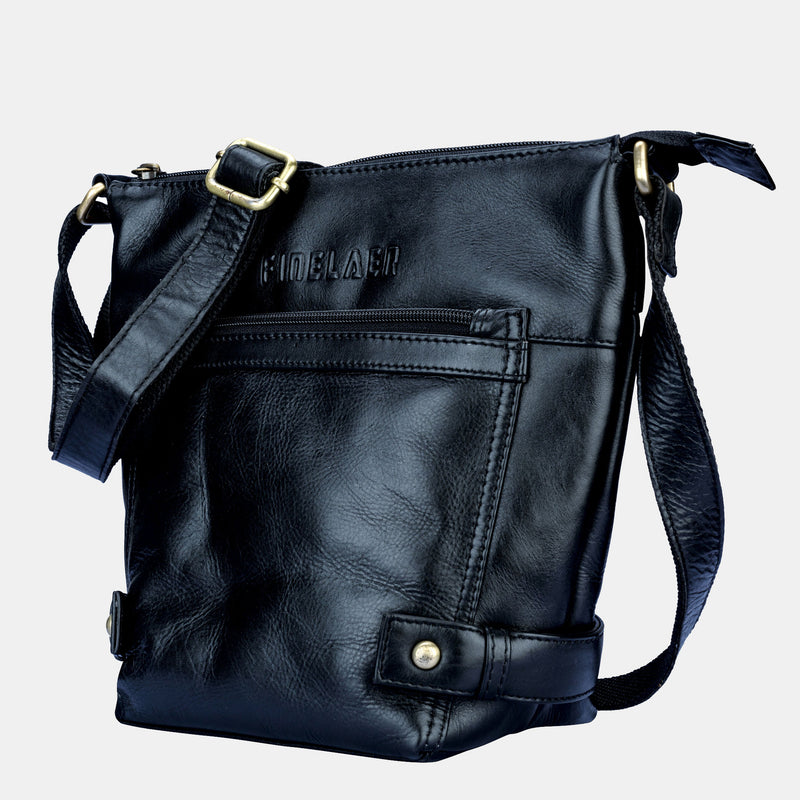 Women Soft Black Leather Crossbody Shoulder Bag | Finelaer