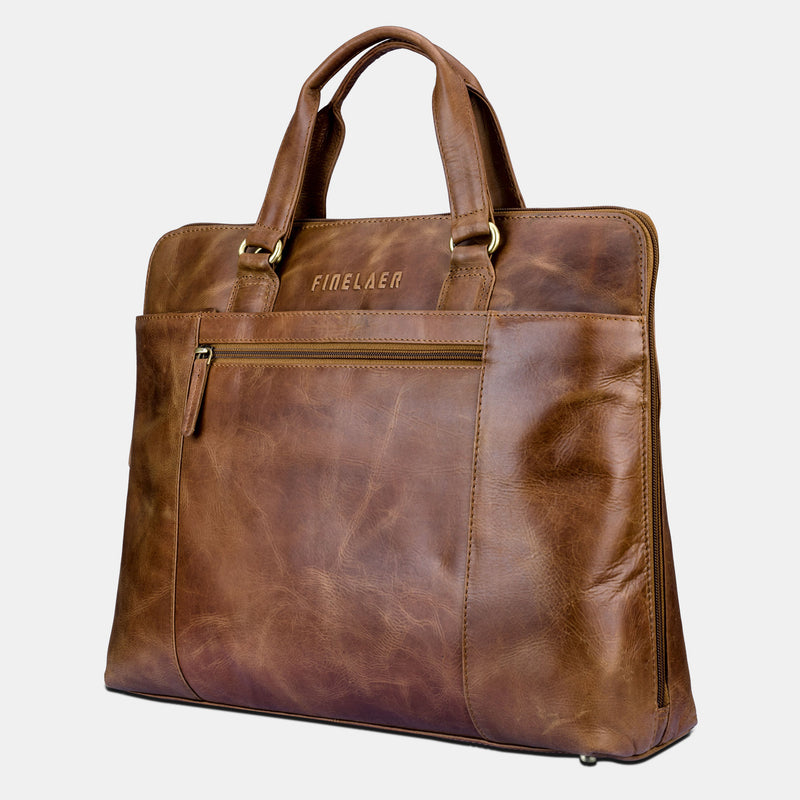 Full Grains Leather Laptop Briefcase Messenger Bag | Finelaer