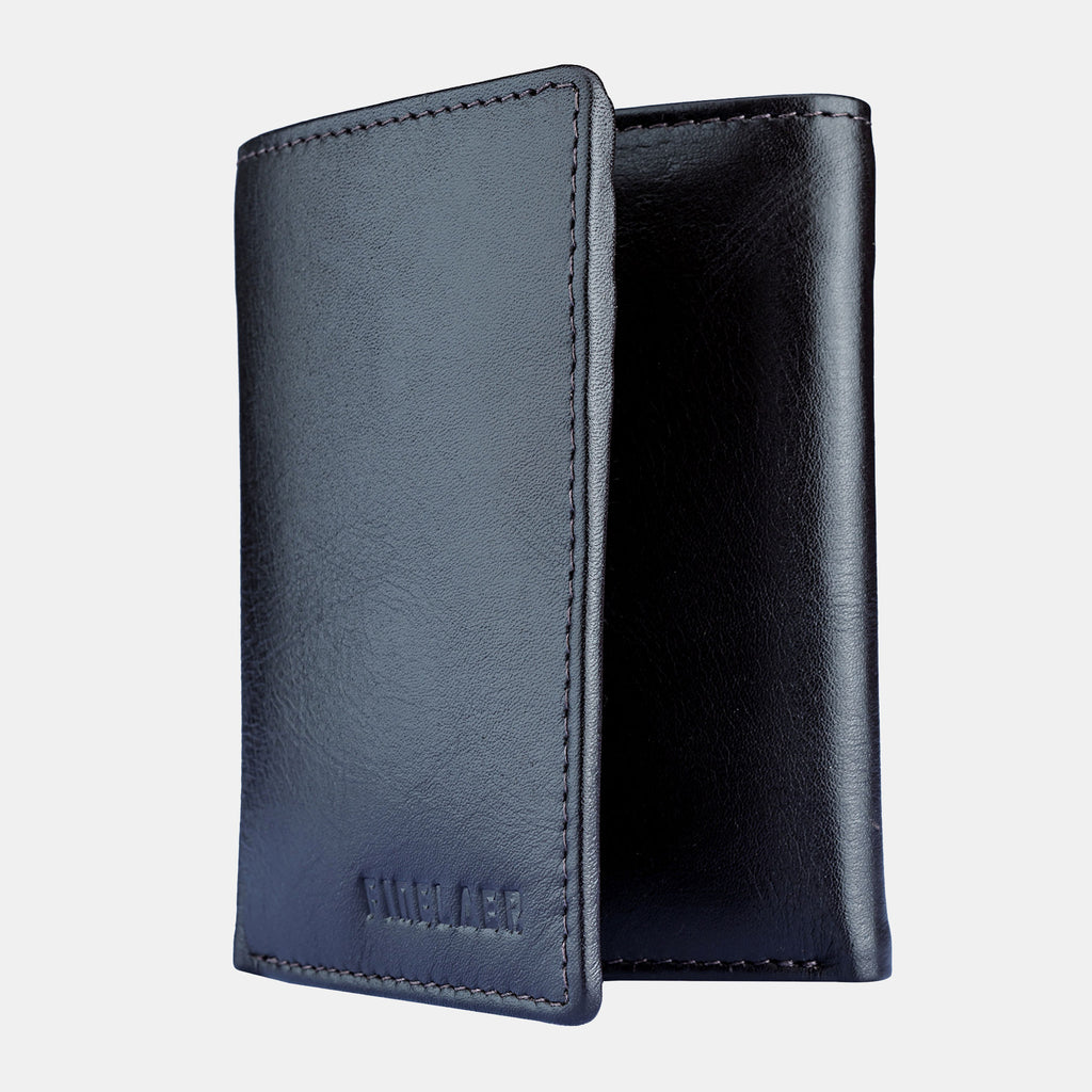 Finelaer Men Premium Black Leather Billfold RFID Wallet