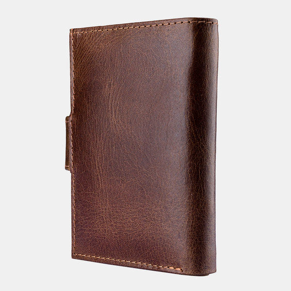 Genuine Leather Credit Card Pocket Wallet RFID Blocking Brown | Finelaer