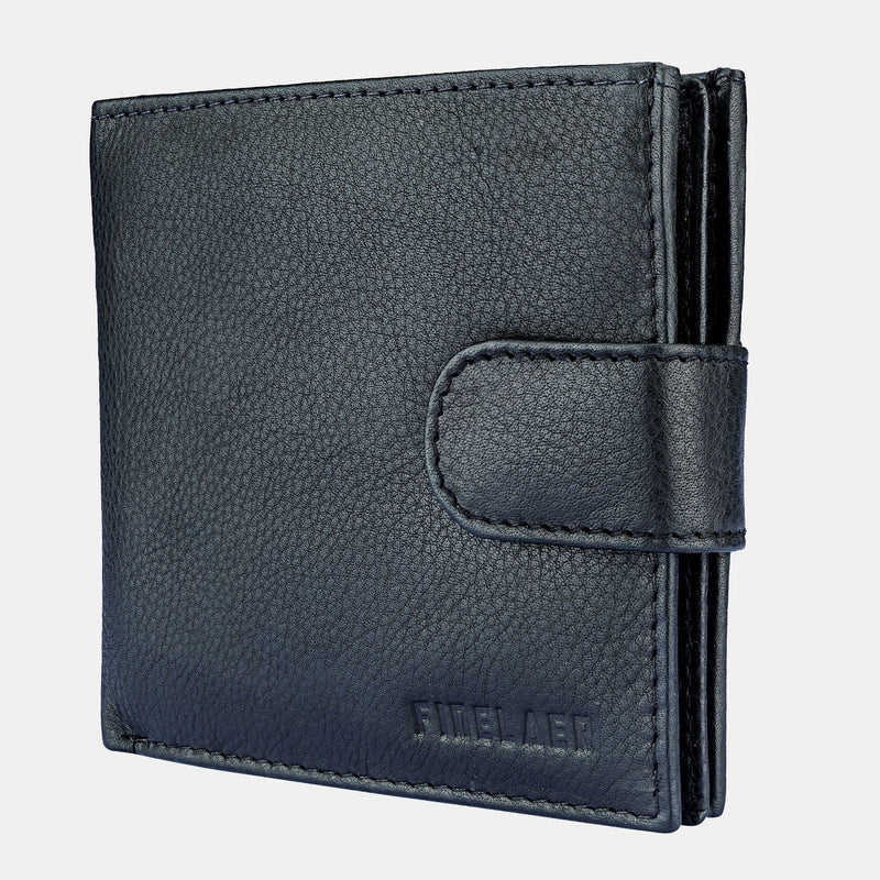 Men Top Grain Black Leather RFID Billfold Wallet | Finelaer