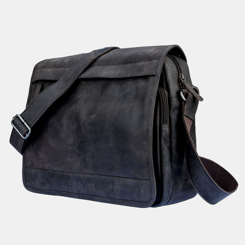 Black Leather Laptop Briefcase Messenger Bag | Finelaer