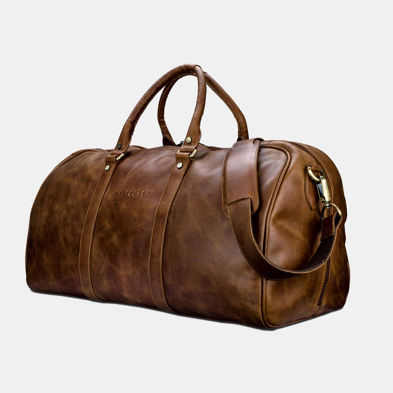 Premium Leather Travel Duffle Bag | Finelaer