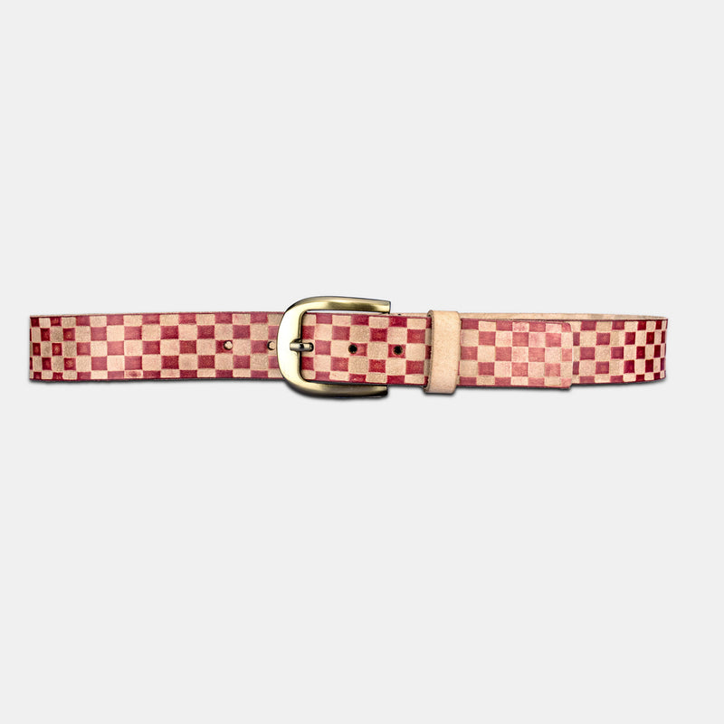 Finelaer Mens Genuine Leather Checkered Belt With Buckle