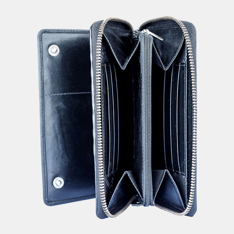Women Black Leather Travel Zip Around Purse Wallet | Finelaer